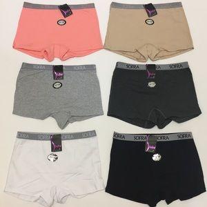 NWT Set Of 6 Sports Panty Boy Shorts Cotton S-XL